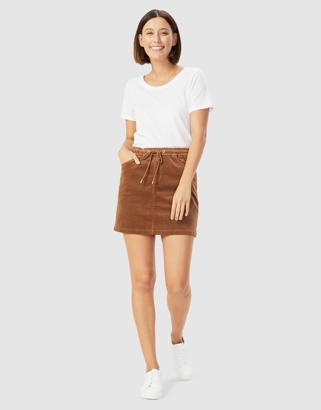 Women Cord Stretch Casual Skirt