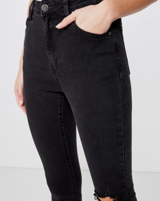 Cotton On high rise cropped skinny jeans - Crop (Washed Black Rip)