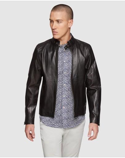 Oxford Dean Lambskin Leather Jacket Black