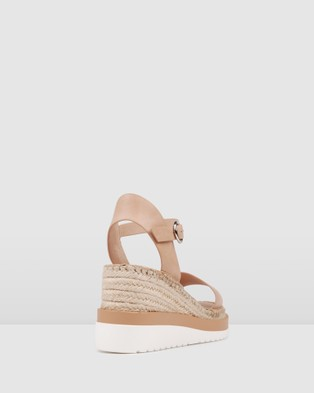 Jo Mercer Kandy Mid Heel Wedge Espadrilles - Sandals (Natural Leather)