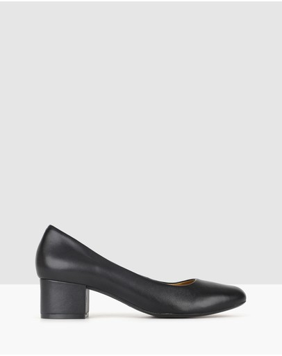 Airflex Cherish Leather Block Heel Pumps Black