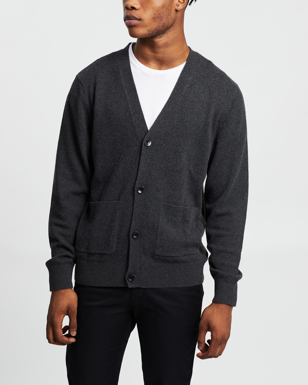 AERE Wool Blend Cardi Jumpers & Cardigans Charcoal
