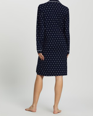 Angel Maternity Maternity Sleep Nightie Dress - Sleepwear (Navy Polka Dots)