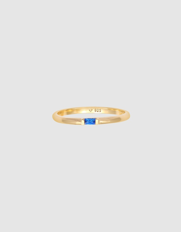 Women Ring Rectangle Plain with Synthetic Sapphire in 925 Sterling Silver Gold Plated