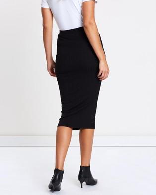 Atmos&Here Lara Ribbed Midi Skirt - Pencil skirts (Black)