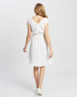 KAJA Clothing Samara Dress - Dresses (White with Blue Embroidery)