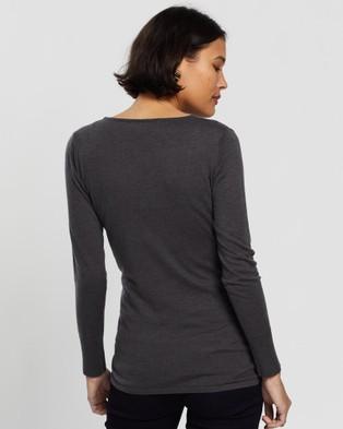 Angel Maternity Merino Wool Knit Long Sleeve Top - Tops (Grey)
