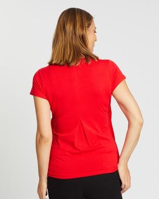 Angel Maternity Maternity Petal Front Short Sleeve Nursing Top - Tops (Red)