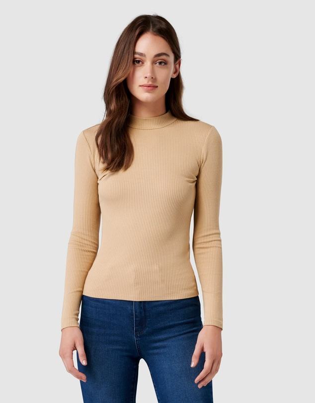 Forever New - Brandi High Neck Rib Long Sleeve Top