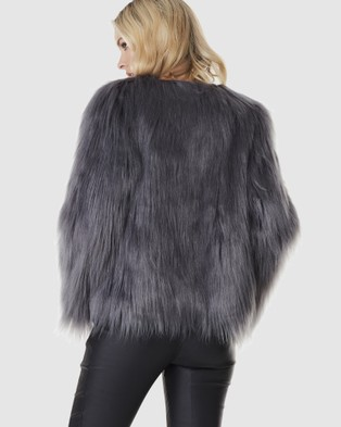 Everly Collective Marmont Faux Fur Jacket - Coats & Jackets (Dark Grey)