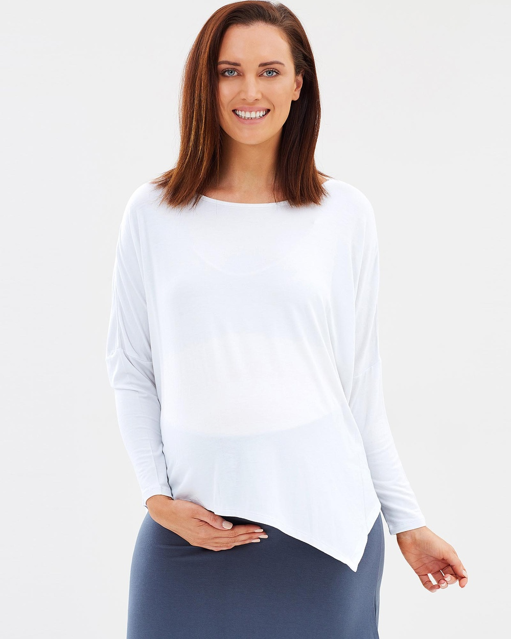 Bamboo Body Bamboo Relax Boatneck Long Sleeve Top Tops White Bamboo Relax Boatneck Long Sleeve Top