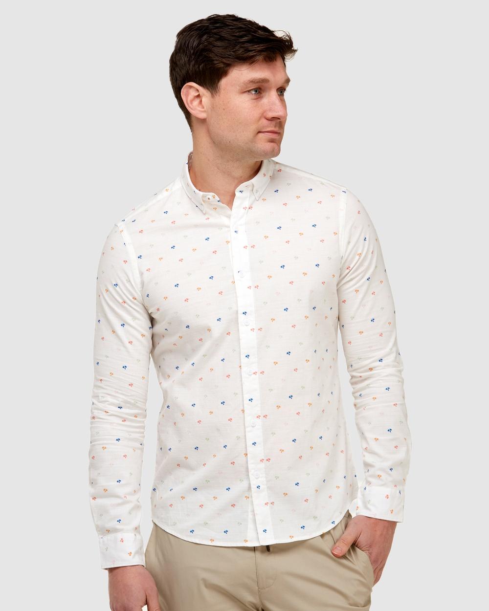 Brooksfield Palm Print Casual Shirt shirts WHITE