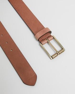 Double Oak Mills Smooth Leather 35mm Belt - Belts (Tan & Gold)