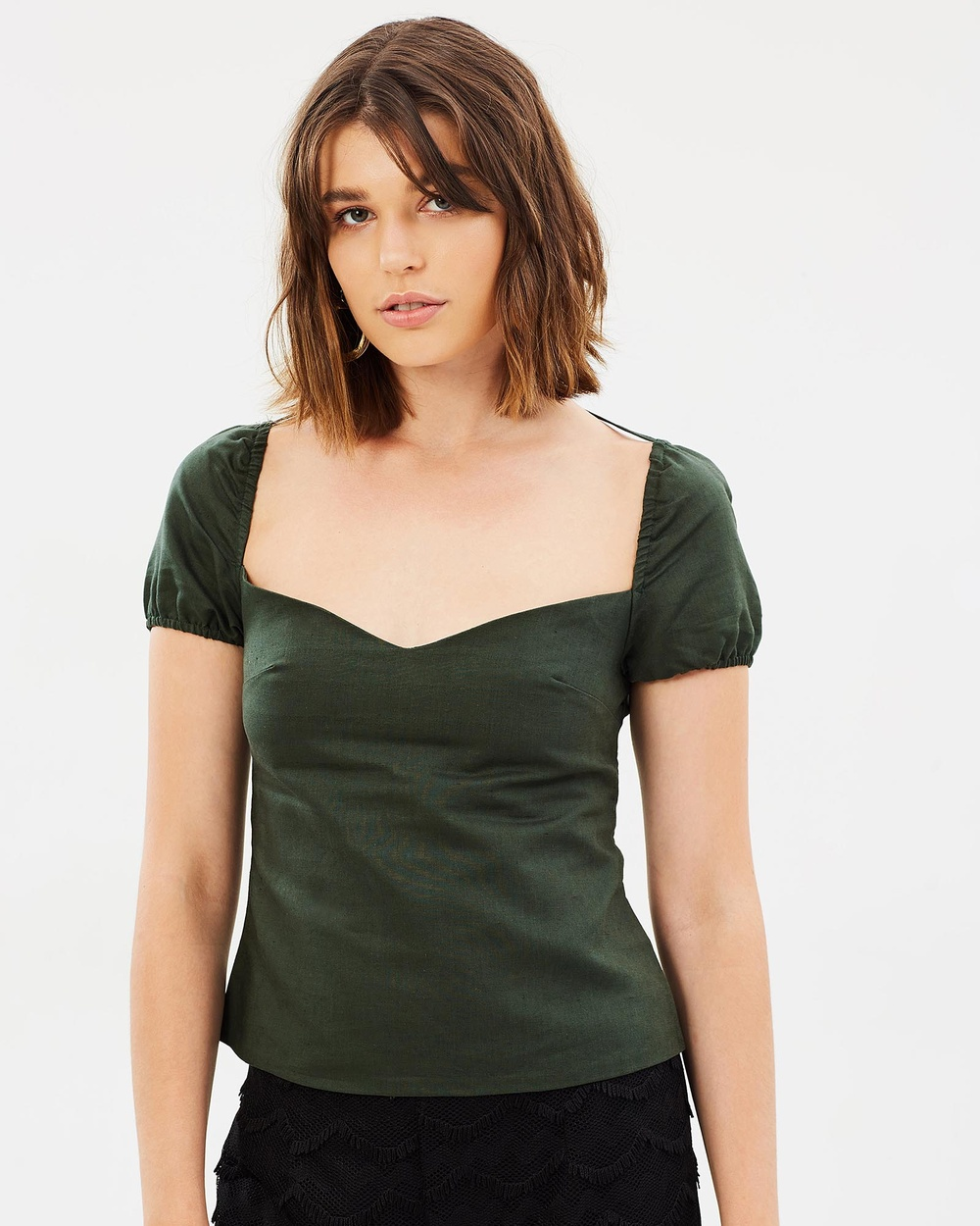 Livingstone Cooper Fitz Top Cropped tops Hunter Green Fitz Top