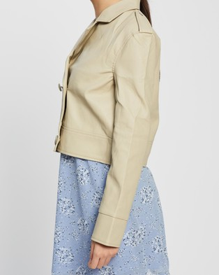 Missguided Double Breasted Biker Jacket - Coats & Jackets (Stone)