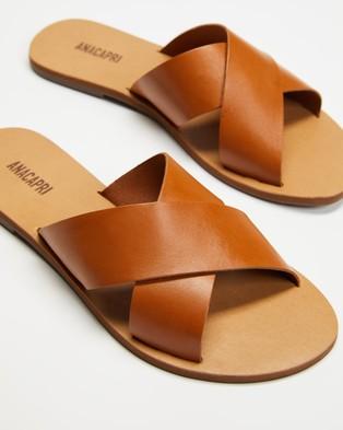 Anacapri Cross Leather - Sandals (Brown)