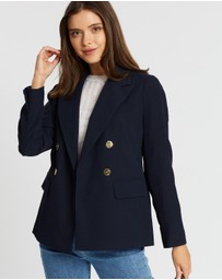 DP Petite - Double-Breasted Gold Button Blazer