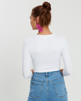 Missguided - Button Front Long Sleeve Crop Top - Cropped tops (White) Button Front Long Sleeve Crop Top