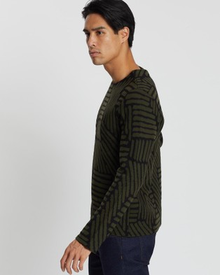 CERRUTI 1881 Patterned Merino Wool Sweater - Jumpers & Cardigans (Green)