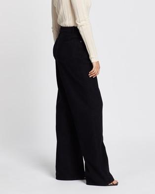 AERE Extra Long Wide Leg Pants - High-Waisted (Black)