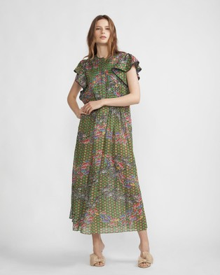 Cynthia Rowley – Zebra & Fish Flutter Sleeve Dress Green