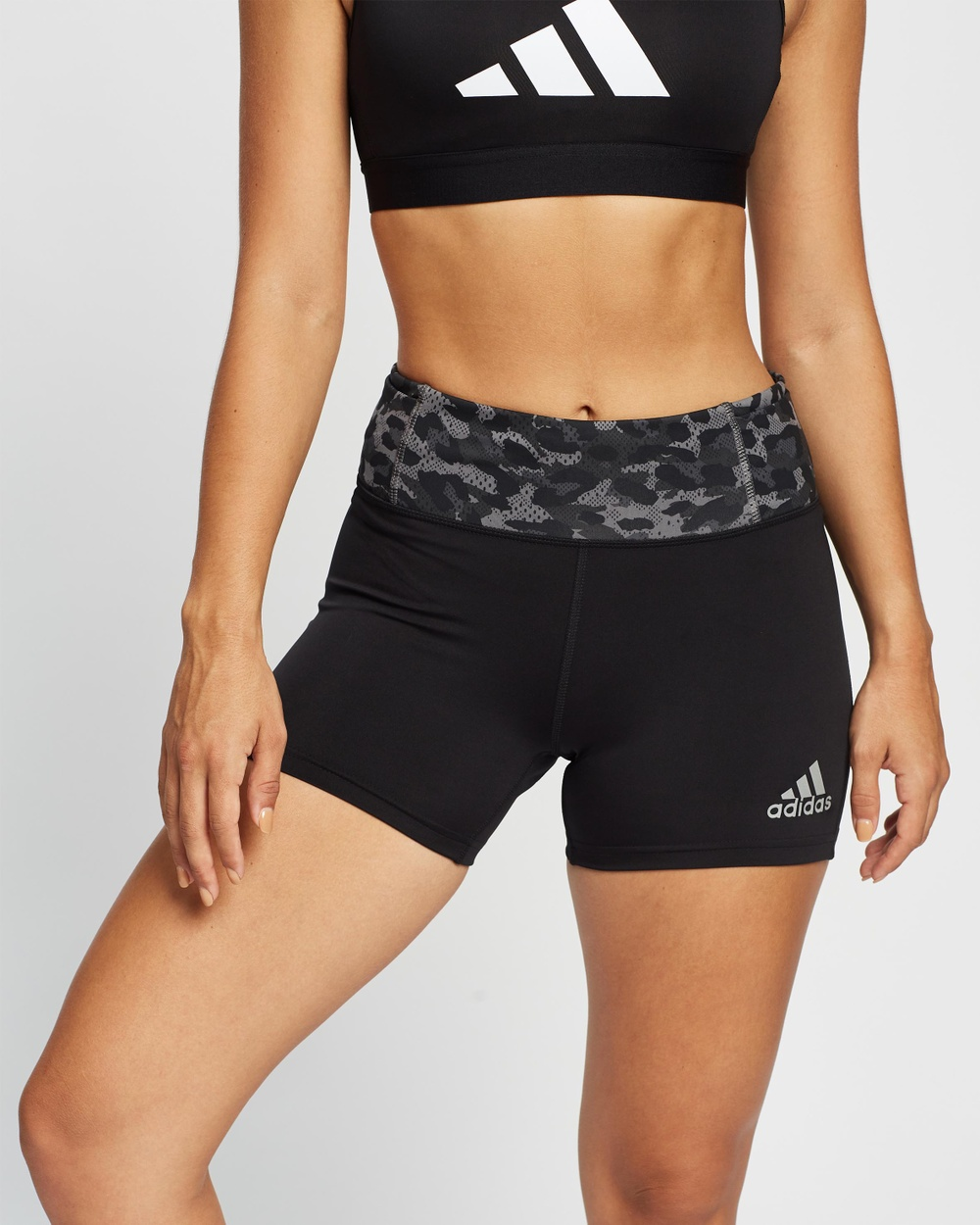 adidas Performance Fast Primeblue Graphic Booty Shorts High-Waisted Black & Grey Four