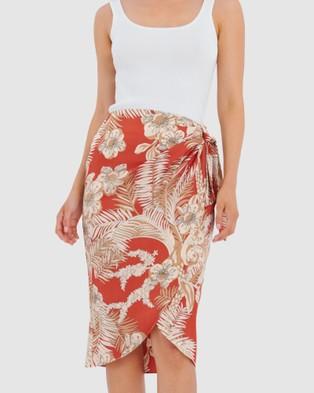 Forcast Nya Floral Tulip Skirt - Skirts (Tan)