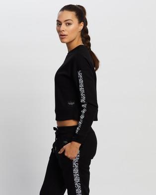 Calvin Klein Performance - Mirror Logo Tape Long Sleeve Crop Pullover Sweats (Black)