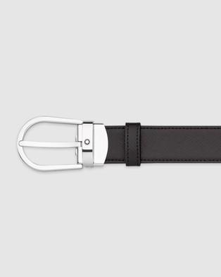 Montblanc Horseshoe Shiny Stainless Steel Pin Buckle Belt - Belts (Black)