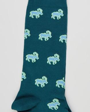 Paul Smith Goats All Over Socks - Crew Socks (Navy)