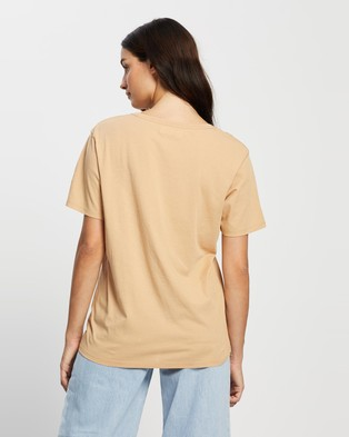 Assembly Label Logo Cotton Crew Tee - T-Shirts & Singlets (Taupe & White)