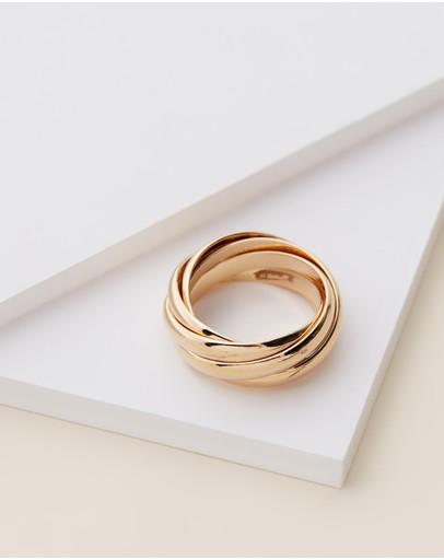 Orelia London Interlocking Russian Rings Pale Gold