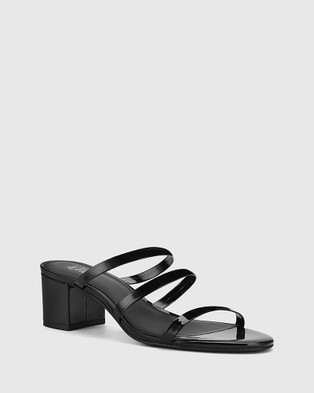 Wittner Ilana Patent Leather Block Heel Sandal - Sandals (Black)