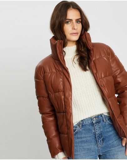 Unreal Fur Major Tom Puffer Jacket Tan
