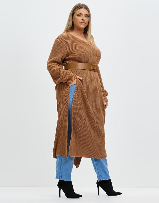 Women Split Knit Maxi Sweater
