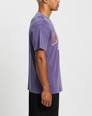 Mitchell & Ness Vintage Keyline Logo Tee Los Angeles Lakers Short Sleeve T-Shirts Faded Purple