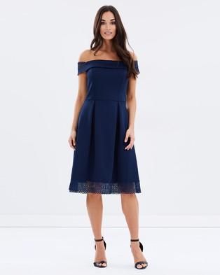 Dorothy Perkins – Bardot Lace Insert Midi Dress – Dresses (Navy)