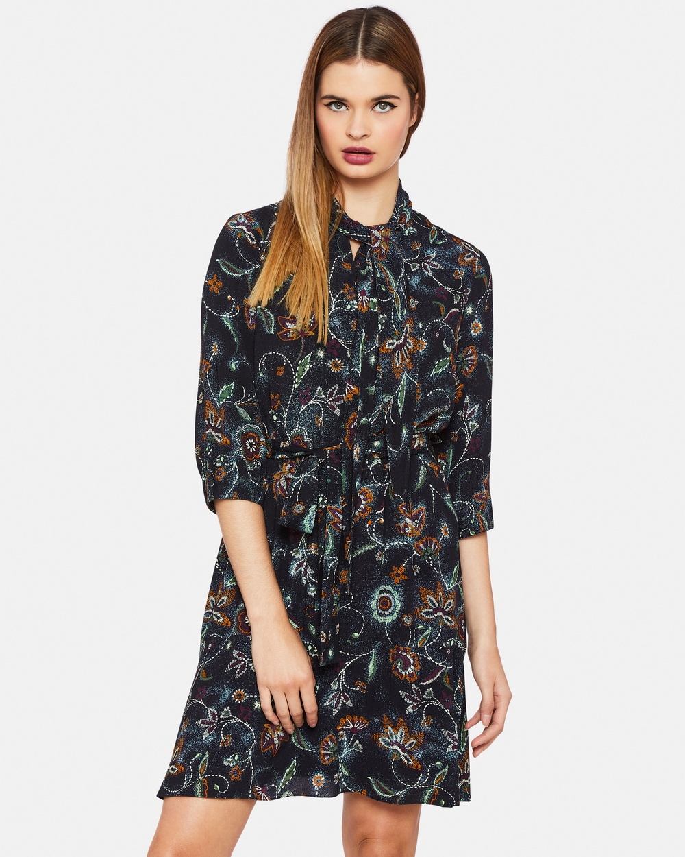 Oxford LARA FLORAL PRINTED DRESS Dresses Blue LARA FLORAL PRINTED DRESS