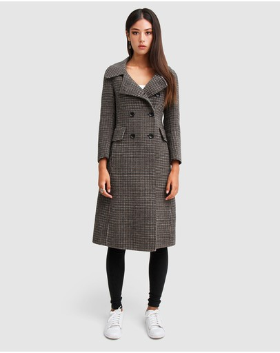 Belle & Bloom Save My Love Wool Coat Camel Check