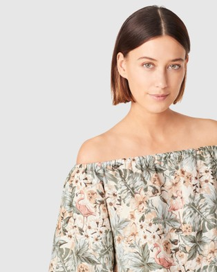 French Connection Off Shoulder Linen Top - Tops (VINTAGE TROPICAL)