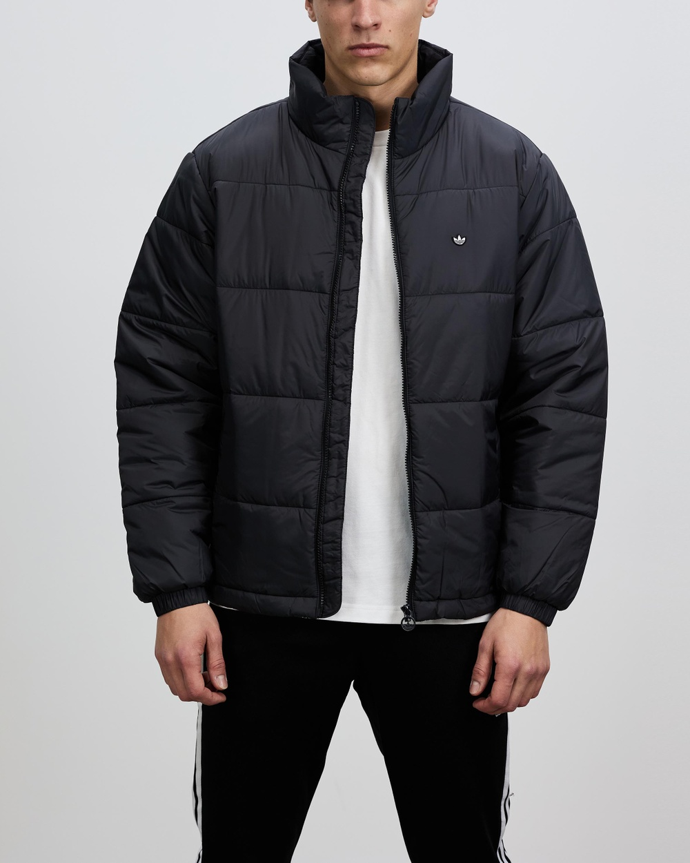 adidas Originals Padded Stand Up Collar Puffer Jacket and Coats Black Stand-Up