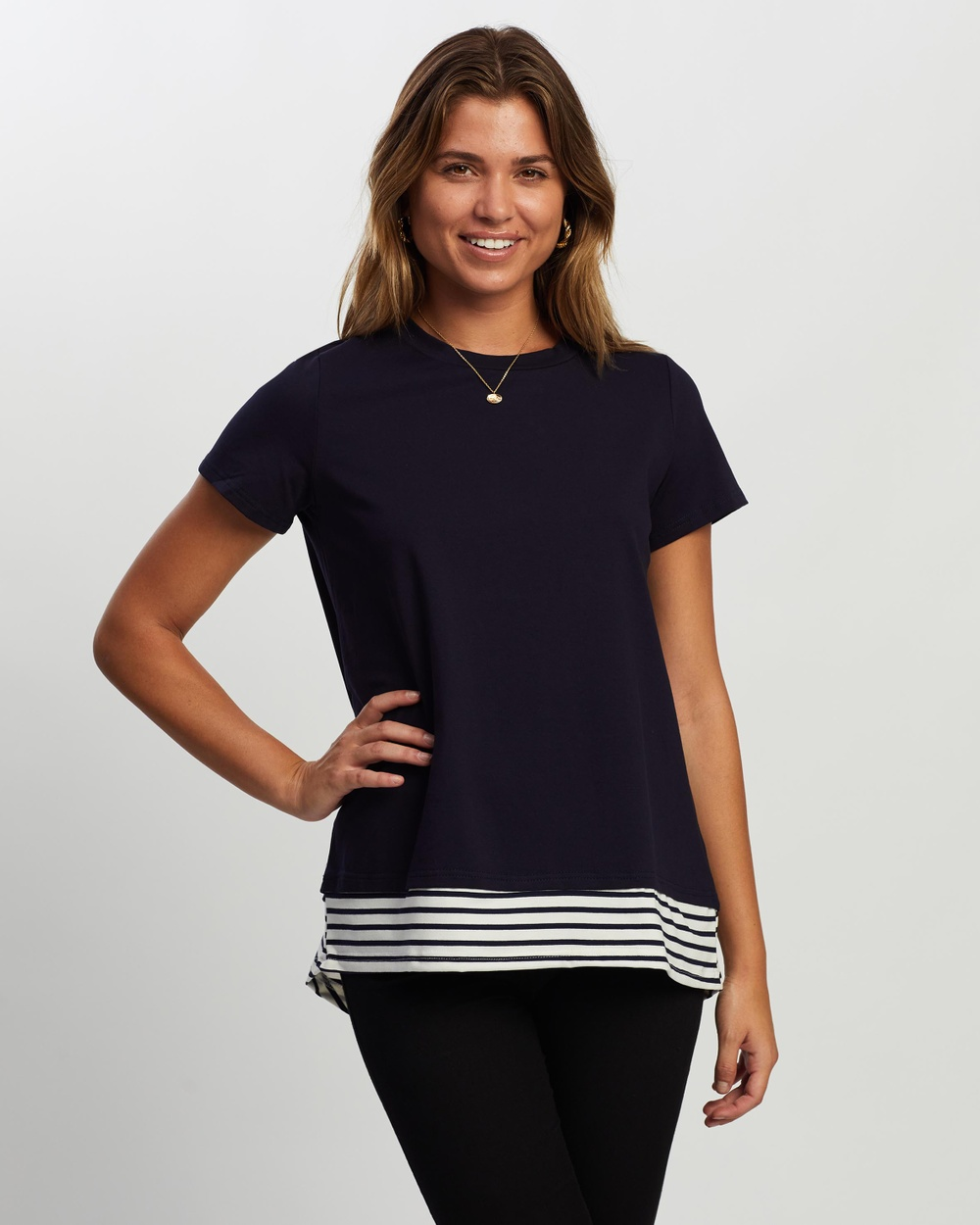 Atmos&Here - Yvonne Layered Tee - Tops (Navy With Stripe Contrast) Yvonne Layered Tee