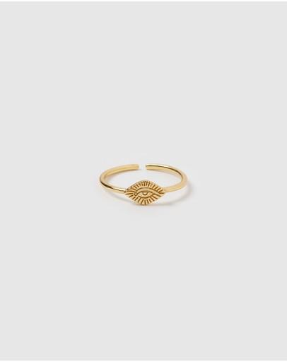 Izoa Egyptian Eye Ring Gold