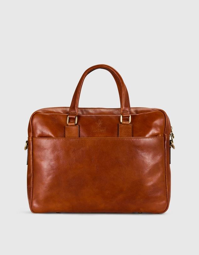 Men The Tokyo Tan Leather Laptop Briefcase