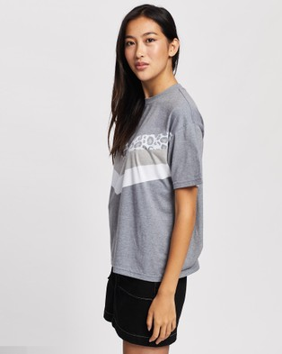 All About Eve - Angled Cheetah Tee Short Sleeve T-Shirts (WASHED BLACK)