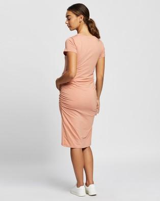 Angel Maternity Summer Maternity Dress - Bodycon Dresses (Peach)