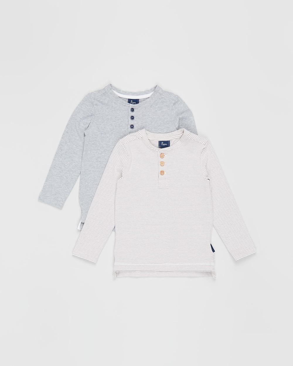 Pappe 2 Pack Croft Henley LS T Shirt Babies Kids T-Shirts & Singlets Grey Elderberry Stripe 2-Pack T-Shirt Babies-Kids Australia