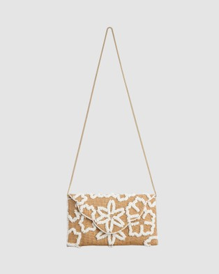 From St Xavier Raffia Flower Foldover - Clutches (White)