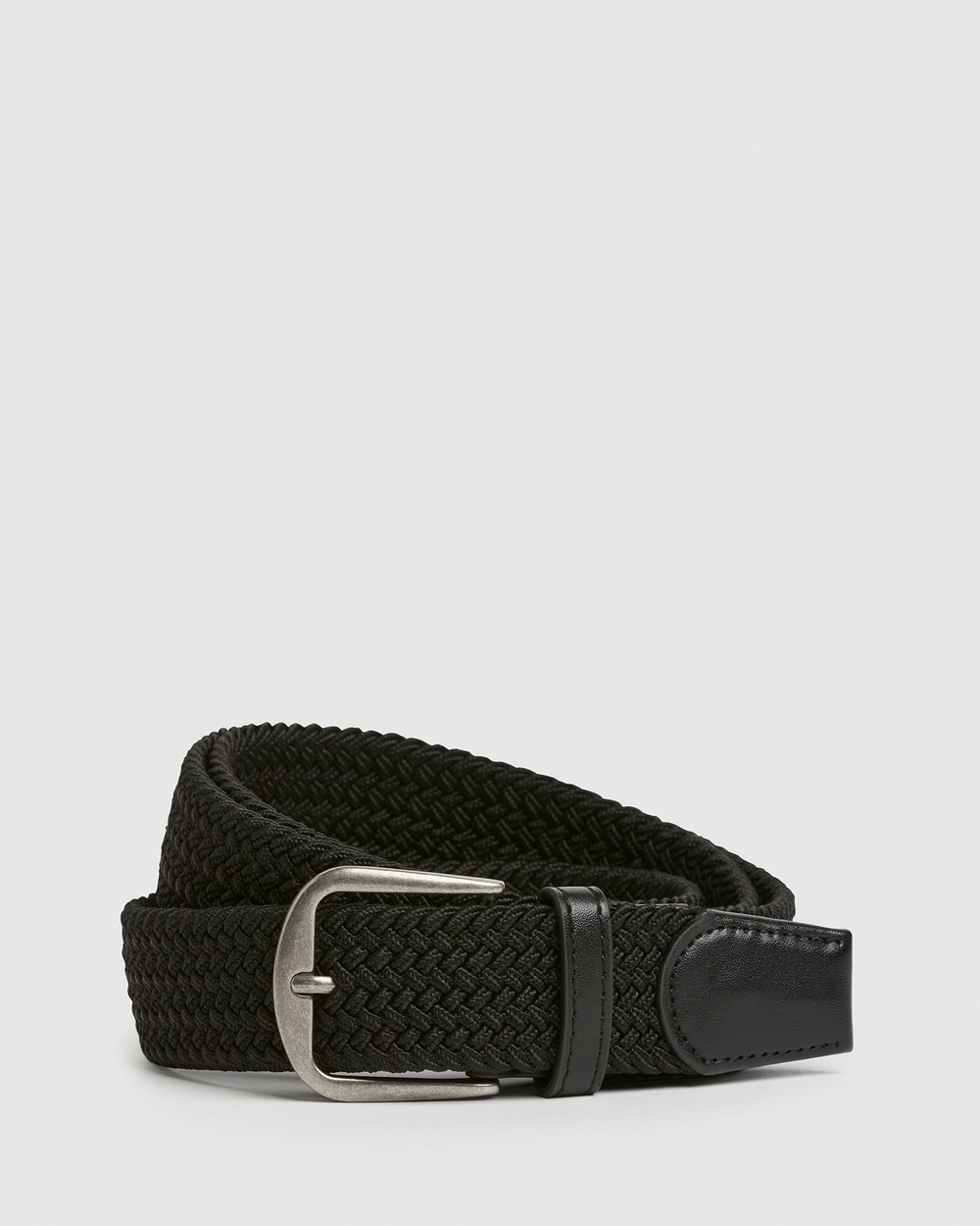 French Connection Woven Stretch Belt Belts BLACK