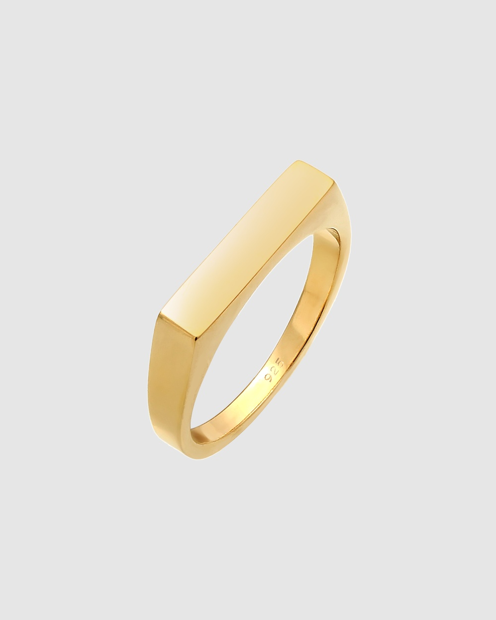 Elli Jewelry Ring Pinky Signet Geo Basic in 925 Sterling Silver Gold Plated Jewellery Gold